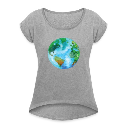 earth - Women's Roll Cuff T-Shirt