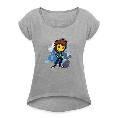 Darkar Paint Blue - Women's Roll Cuff T-Shirt