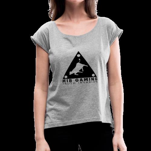 MIB LOGO: TRUTH INVASION TRIANGLE UFO - Women's Roll Cuff T-Shirt