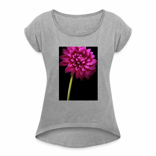 Pink Flower - Women's Roll Cuff T-Shirt