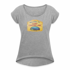camp crystal lake sign - Women's Roll Cuff T-Shirt