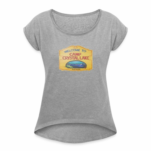 camp crystal lake sign - Women's Roll Cuff T-Shirt
