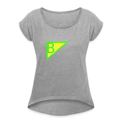 Neon green superman - Women's Roll Cuff T-Shirt