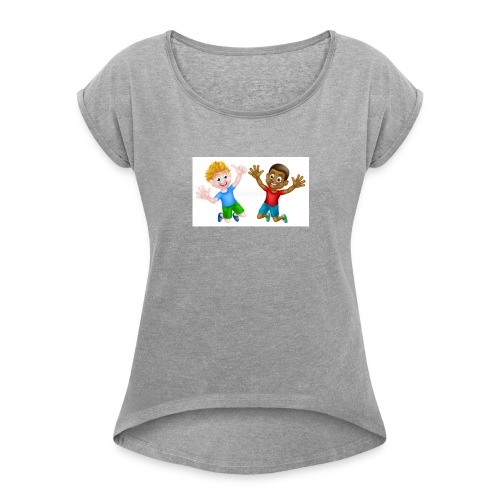 happy cartoon boys young one black one white jumpi - Women's Roll Cuff T-Shirt
