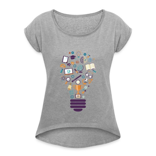 school - Women's Roll Cuff T-Shirt