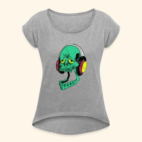 Mr. Green skull - Women's Roll Cuff T-Shirt