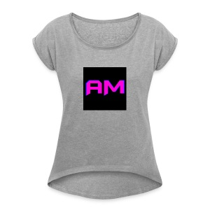 Pink, Blue, and black LOGO - Women's Roll Cuff T-Shirt