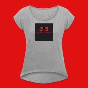 Big Pauly Brand Red Print With Logo - Women's Roll Cuff T-Shirt