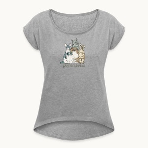 CATS - SENTIENT BEINGS - Carolyn Sandstrom - Women's Roll Cuff T-Shirt