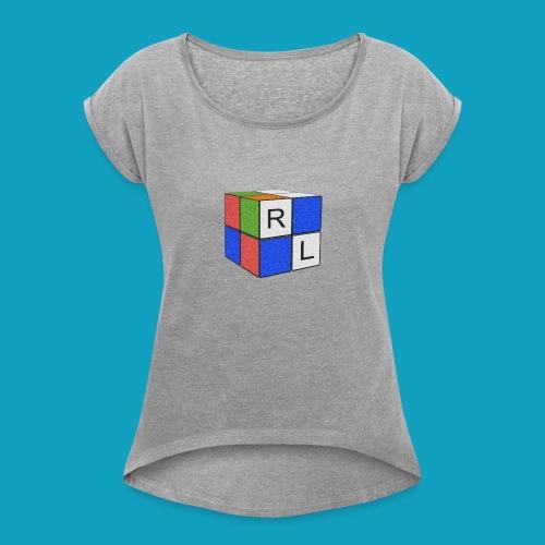 Faded Cube - Women's Roll Cuff T-Shirt