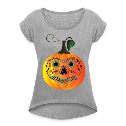 Sugar Skull Pumpkin - Women's Roll Cuff T-Shirt