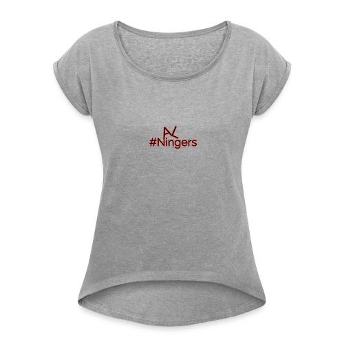 Hidden V LogoMakr - Women's Roll Cuff T-Shirt