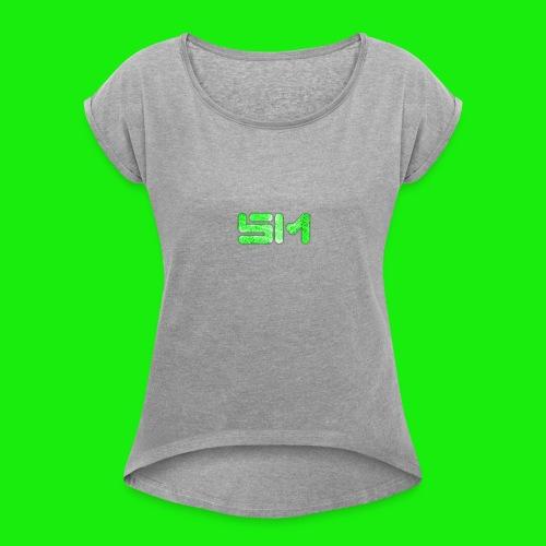 SloMotion logo - Women's Roll Cuff T-Shirt