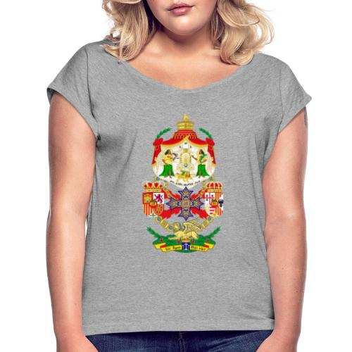 Ethiopian Empire Coat of arms Crest Crown Council - Women's Roll Cuff T-Shirt
