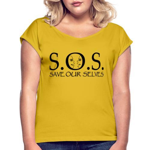 SOS Black on Black - Women's Roll Cuff T-Shirt