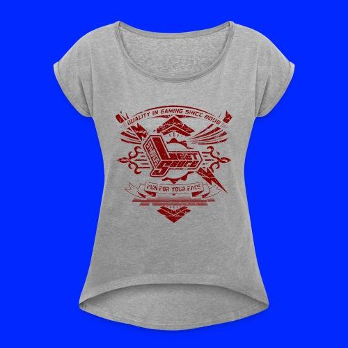 Vintage Leet Sauce Studios Crest Red - Women's Roll Cuff T-Shirt