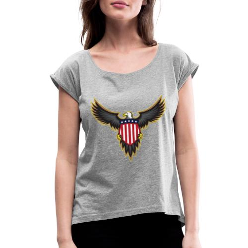 Patriotic American Bald Eagle - Women's Roll Cuff T-Shirt