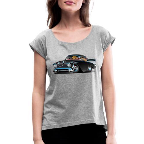 Classic hot rod fifties muscle car - Women's Roll Cuff T-Shirt