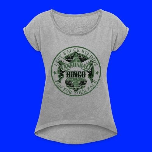 Vintage Cannonball Bingo Badge Dark Green - Women's Roll Cuff T-Shirt