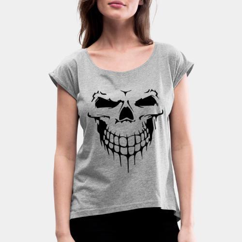 skull rock metal face - Women's Roll Cuff T-Shirt