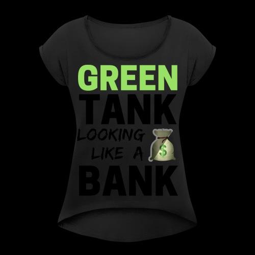 convert design to vector graphic blackgr - Women's Roll Cuff T-Shirt