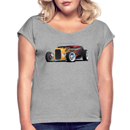 Custom Hot Rod Roadster Car with Flames - Women's Roll Cuff T-Shirt
