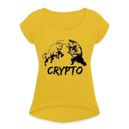 CryptoBattle Black - Women's Roll Cuff T-Shirt
