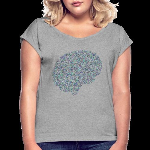 brain scramble - Women's Roll Cuff T-Shirt