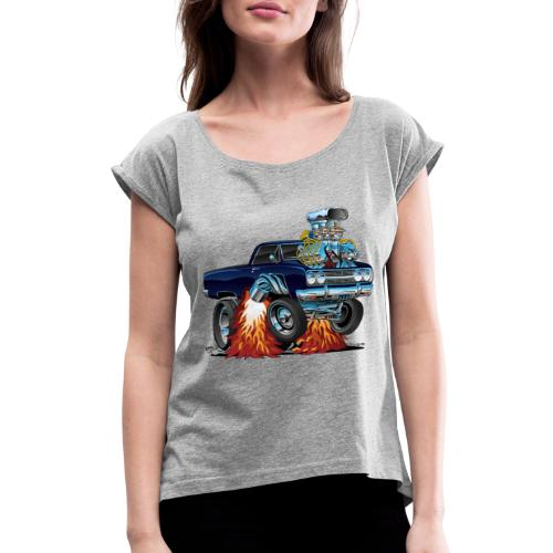 Classic Sixties Muscle Car Cartoon - Women's Roll Cuff T-Shirt