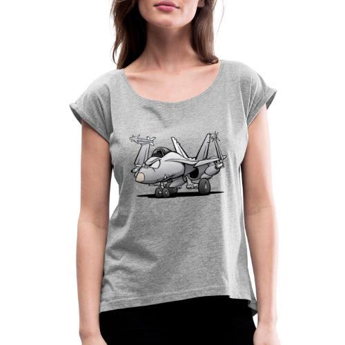 Military Naval Fighter Jet Airplane Cartoon - Women's Roll Cuff T-Shirt