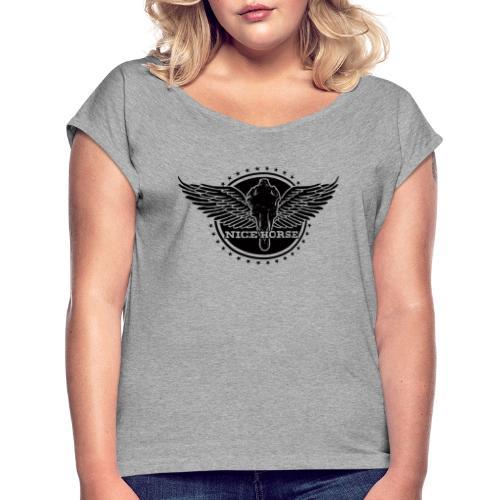Nice Horse Crest (dark) - Women's Roll Cuff T-Shirt