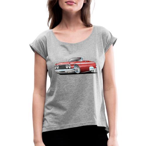 Sixties American Classic Car Convertible Cartoon - Women's Roll Cuff T-Shirt