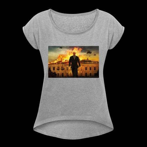 putin destroys white house - Women's Roll Cuff T-Shirt