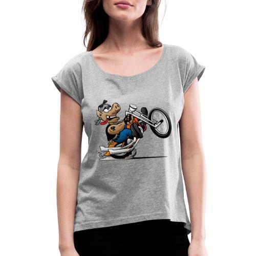 Biker Hog Motorcycle Cartoon - Women's Roll Cuff T-Shirt