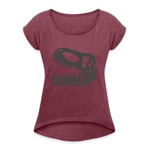 RAWRsome T Rex Skull by Beanie Draws - Women's Roll Cuff T-Shirt