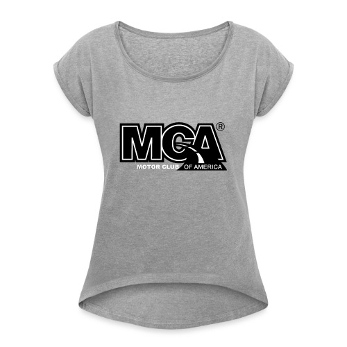 MCA Logo WBG Transparent BLACK TITLEfw fw png - Women's Roll Cuff T-Shirt