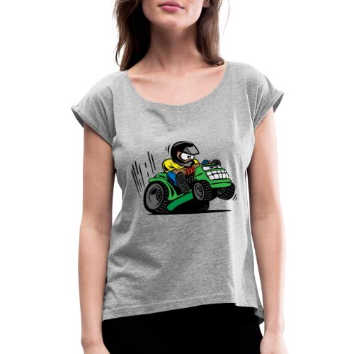 Racing Lawn Mower Cartoon - Women's Roll Cuff T-Shirt