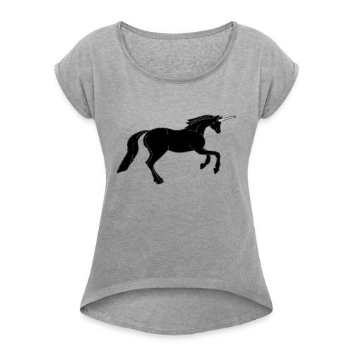 unicorn black - Women's Roll Cuff T-Shirt