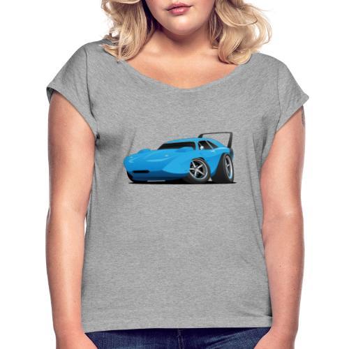 Classic American Winged Muscle Car Hot Rod - Women's Roll Cuff T-Shirt