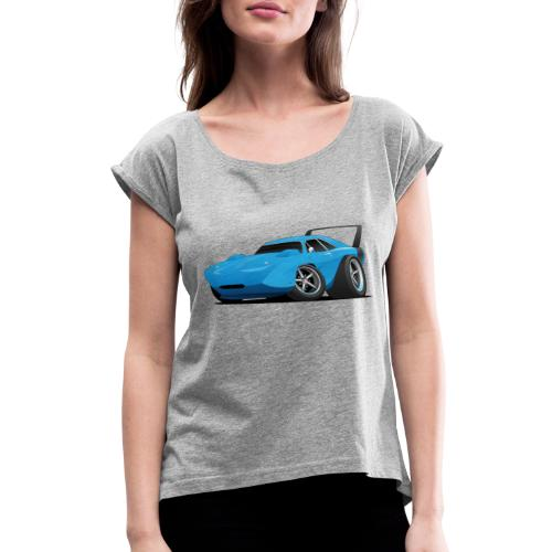 Classic American Winged Muscle Car Hot Rod - Women's Roll Cuff T-Shirt