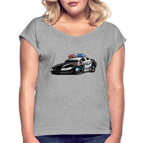 Police Muscle Car Cartoon - Women's Roll Cuff T-Shirt