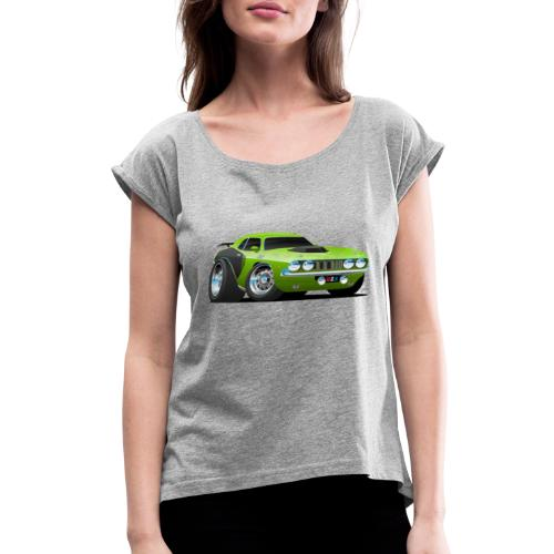 Classic Seventies American Muscle Car Cartoon - Women's Roll Cuff T-Shirt