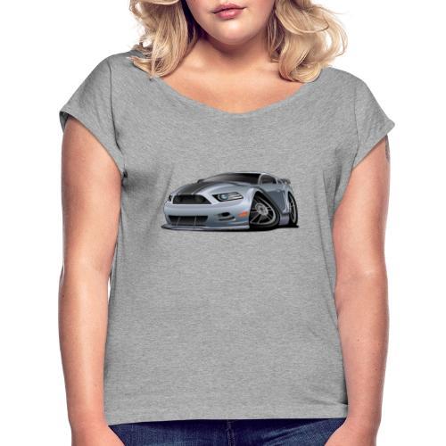 Modern American Muscle Car Cartoon Vector - Women's Roll Cuff T-Shirt