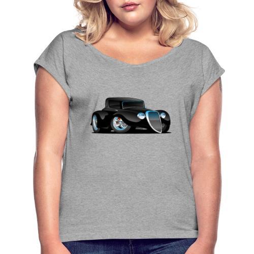 Black Hot Rod Classic Coupe Custom Car Cartoon - Women's Roll Cuff T-Shirt
