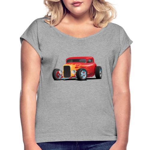 Classic Bold Red Custom Street Rod - Women's Roll Cuff T-Shirt
