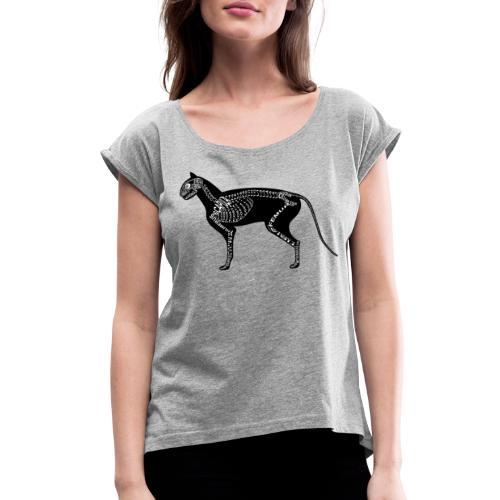 Skeleton Cat - Women's Roll Cuff T-Shirt