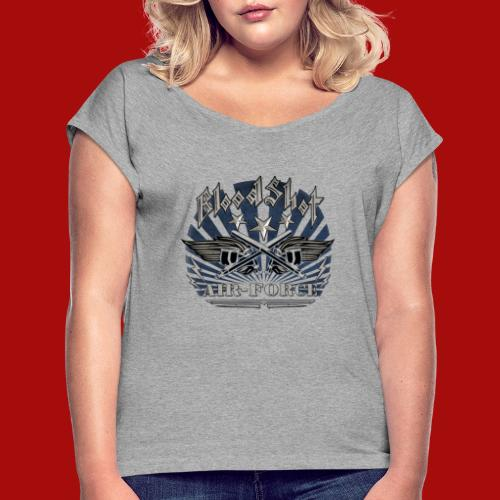 BloodShot Air Force with black - Women's Roll Cuff T-Shirt