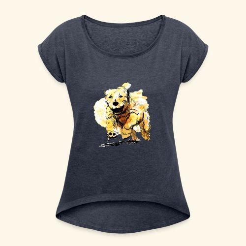 oil dog - Women's Roll Cuff T-Shirt