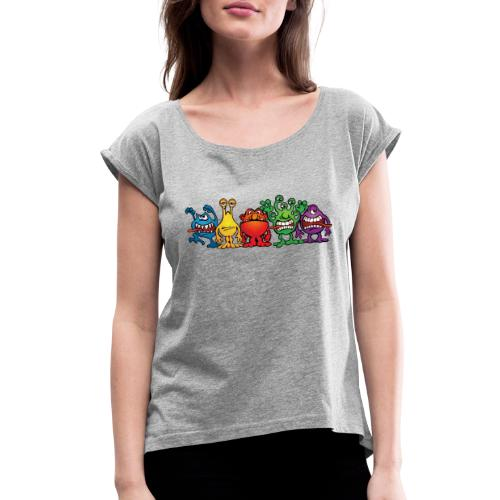 Alien Friends - Women's Roll Cuff T-Shirt