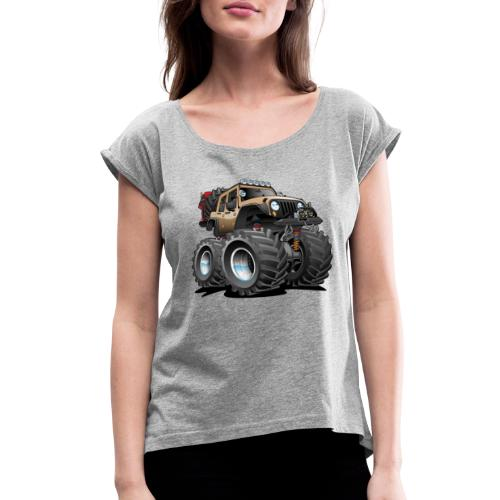Off road 4x4 desert tan jeeper cartoon - Women's Roll Cuff T-Shirt